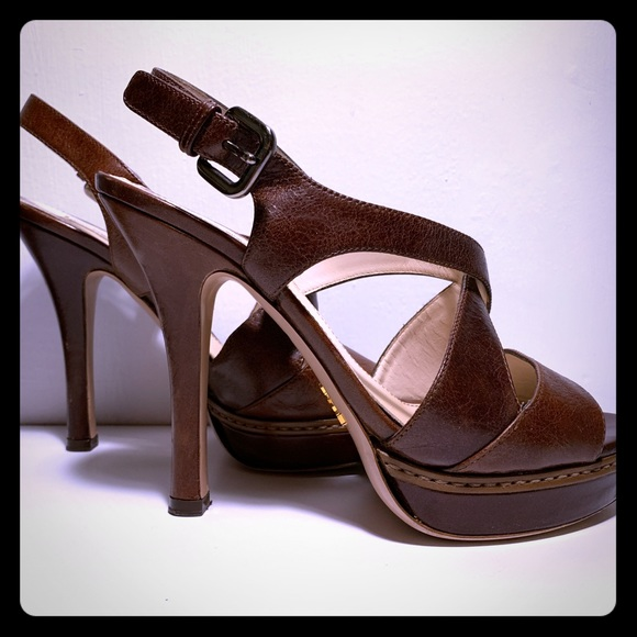 a408ae707 Prada Shoes | Platform Sandals Size 37 Brown Leather | Poshmark